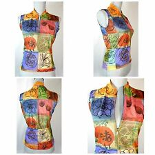 Sugoi Sleeveless Cycling Jersey 3 Pocket 1/2 Zip Asian Floral Print Womens S