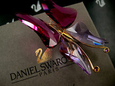 DANIEL SWAROVSKI SIGNED CRYSTAL BUTTERFLY  PIN ~ BROOCH RETIRED NEW IN BOX