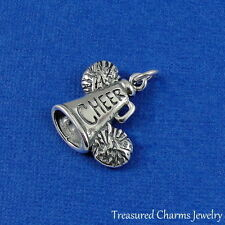 .925 Sterling Silver Cheerleader CHEER MEGAPHONE and POM POMS CHARM PENDANT