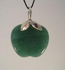 Steinanhänger aus Aventurin in der Form eines Apfels Schlaufe 925/- Silber