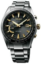 NEW SEIKO ASTRON GPS SOLAR WORLD TIME SSE087 TITANIUM BRACLET BLACK DIAL W/ GOLD