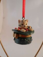 Xmas Ornament Resin White/Grey Striped Kitten with Presents in Tall Hat