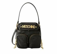$595! MOSCHINO Couture Jeremy Scott Black Shoulder Bag Gold Logo Leather Pockets