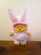 vintage 1997 Spicy brand plastic teddy bear figure in Easter Bunny Outfit Unique