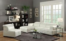 ULTRA MODERN WHITE BONDED LEATHER SOFA CHAISE SECTIONAL LIVING ROOM FURNITURE