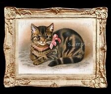 Vintage Cat With Bow Miniature Dollhouse Picture