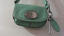 FOSSIL GREEN LEATHER MADDOX MESSENGER CROSS BODY SATCHEL PURSE BAG BOHO with KEY