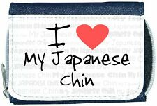 I Love Heart My Japanese Chin Denim Wallet
