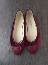 100% AUTHENTIC CHANEL RED VELVET BALLERINA BALLET BOW FLATS 36.5C