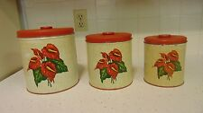 Vintage SET 3 TIN DECOWARE CANISTERS w/TROPICAL HAWAIIAN RED ANTHURIUM FLOWER