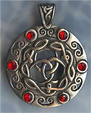 """RED CELTIC SHIELD PEWTER PENDANT STAINLESS STEEL BALL CHAIN NECKLACE-UNISEX 30"""""""