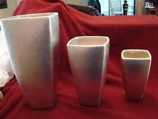 "Set of 3 Contemporary ""Metal Look"" Ceramic Vases Silver Metallic Finish 12"",9"",7"