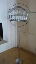 1935 VINTAGE HENDRYX  CHROME BIRD CAGE & STAND SCALLOP Collector ART DECO Nice!