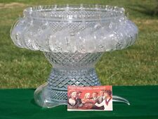 VINTAGE 39 PC WEXFORD PEDESTAL GLASS PUNCH BOWL COMPLETE ANCHOR HOCKING CUPS