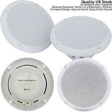 "2x Moisture Resistant Ceiling Speakers -80W 8Ohm 5"" Kitchen Bathroom 2 Way Loud"