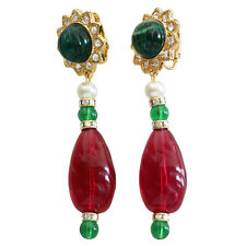 KENNETH JAY LANE Simulated Emerald Ruby Green Red Starburst Clip On Earrings