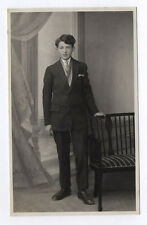 RPPC Postcard CARTE PHOTO Studio Jeune Homme Costume Cravate Vers 1930