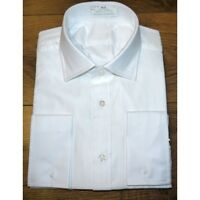 TM LEWIN MENS WHITE LUXURY 100% COTTON HERRINGBONE SHIRT DOUBLE FRENCH CUFFS