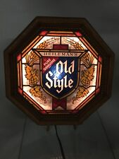 Vintage 80s Heileman's Old Style Beer Lighted Electric Wall Sign Faux Wood Frame