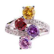 Dazzling Colorful Garnet & Amethyst & Citrine Gemstone AAA Silver Ring Size 7