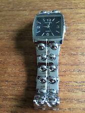 W72   New Raynell Unisex Silver Finish Square Black Faced Watch