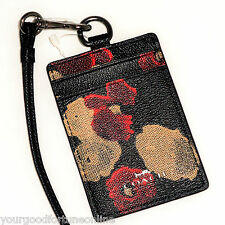 NWT Coach Lanyard RARE Id/Badge Black Red Tan Holder Card/Pass Case Floral 56003
