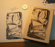 """P7  Ex Libris butterfly on books rubber stamp 3.25x2"""" WM NEW"""