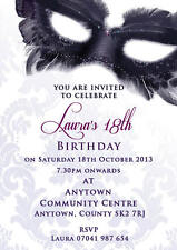 Birthday invitations 18th 21st 30th Masquerade inc envelopes