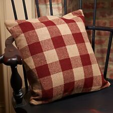 "Primitive Country Rustic 16"" Barn Red Check Cotton Burlap Farmhouse Pillow"