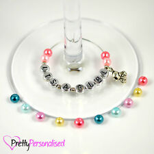 Personalised Baby Shower Wine Glass Charms Table Favours Decoration Party Idea