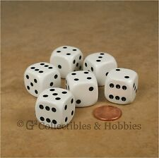 NEW Set of 6 Large 20mm White Dice with Black Pips D&D RPG Bunco Game D6