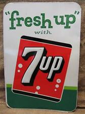 Vintage1962 Stout Embossed Metal 7up Sign   Antique Old Soda Pop Cola 9134