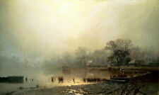 Oil painting Brick Leo - Fog. Red Pond in Moscow in the autumn Hand painted