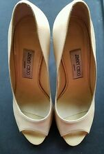 Jimmy Choo Nude Patent Peep Toe Leather Pumps Size 38