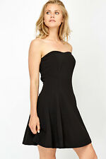 Ladies Swing Bandeau Dress 8-10 BLACK Skater Sexy Romantic Night Valentine Party