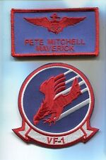 PETE MAVERICK MITCHELL TOP GUN MOVIE COSTUME US NAVY NAME TAG Squadron Patch Set