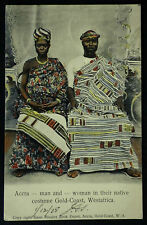 1905 Accra Man & Woman Native Costume Gold Coast Africa RP Postcard Posted Warri