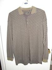 Mens GUESS Classics BROWN GRAY CHECKED Polo Style Cotton LS Shirt size L _ MINT!