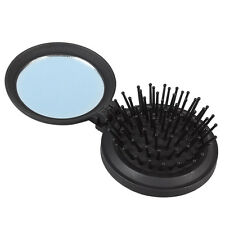 New Girls Travel Folding Hair Brush With Mirror Pocket Size Comb