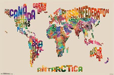 WORLD MAP - TEXT POSTER - 22x34 GLOBE NATIONS WORDS 13480