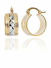 Huggie Sttyle Hoop Earrings with Two Tone Yellow Gold & engraved Rhodium Plating