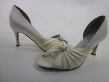 LIZ RENE COUTURE WOMEN'S MELISSA MEDIUM-HEEL PUMP OFF-WHITE SATIN SIZE 7 MEDIUM