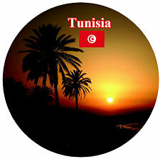 TUNISIA (SUNSET / SIGHTS / FLAGS) - ROUND SOUVENIR FRIDGE MAGNET - NEW / GIFT