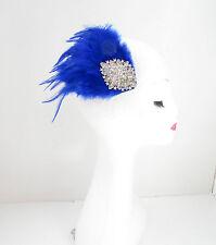 Bleu & Argent Plume Bandeau De Bibi Courses Diamant Pince Cheveux Vintage Y43