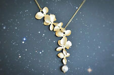NiX 1294 Gold Orchid Flower Necklace Pearl Drop Pendant Gift Women Girl Necklace