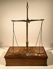 Antique Apothecary Chemist Balance Scales with Weights in Oak Box with Drawer