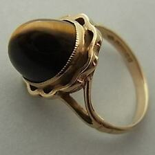 UNUSUAL VINTAGE (1973) 9CT GOLD & TIGER'S EYE RING