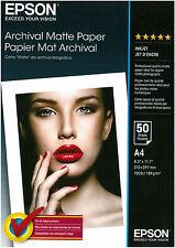 CARTA FOTOGRAFICA INKJET EPSON 50 FOGLI  A4 189 G/M2 ARCHIVIAL MATTE PAPER