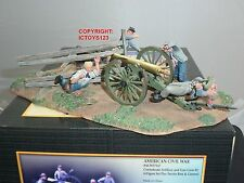 CONTE ACW57147 CONFEDERATE ARTILLERY GUN + CREW METAL TOY SOLDIER FIGURE SET 3