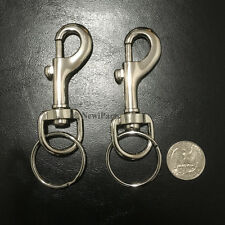 2 PC Snap Clasp Hook Trigger Belt Clip Silver Metal Keychain With Large Key Ring